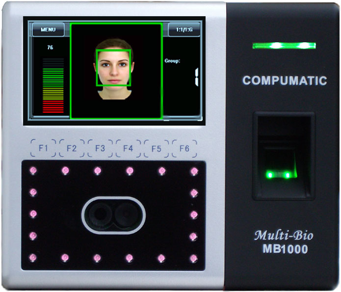 Compumatic Multi-Bio MB1000 Biometric Facial Recognition and Fingerprint Time Clock