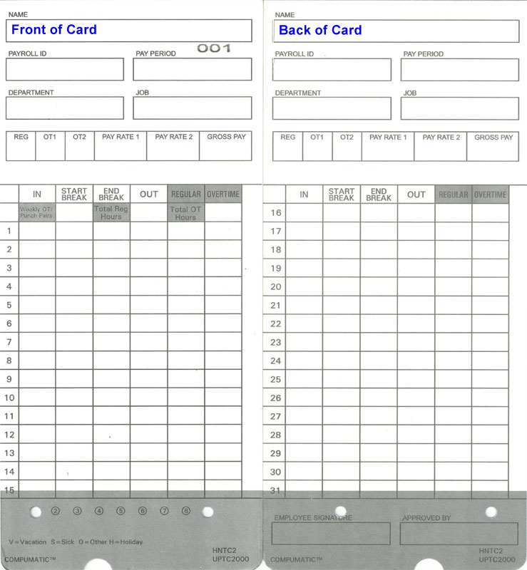 these high quality time cards work with upunch hn2000 and upunch hn4000 time clock models including hn4500 and hn6000 bundles full month printed on time - Electronic Time Card